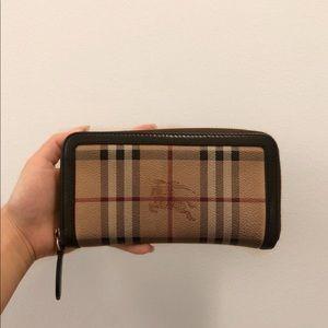 Authentic Burberry Large Zip Around Wallet